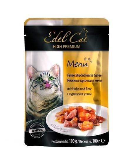 Edel Cat Паучи кусочки в желе: курица и утка, 0,100 кг, 700100784
