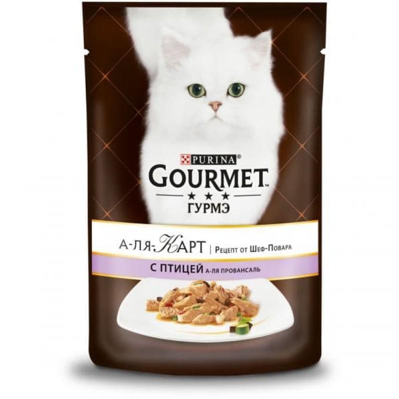 Gourmet A La Carte влажный корм для взрослых кошек, домашняя птица с баклажаном, цукини и томатами 85 гр