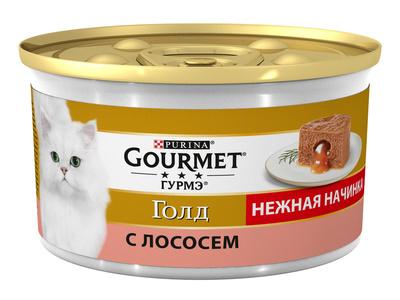 Gourmet Gold влажный корм для взрослых кошек всех пород, лосось 85 гр