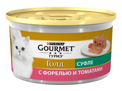 Gourmet Gold влажный корм для взрослых кошек всех пород, форель и томат 85 гр