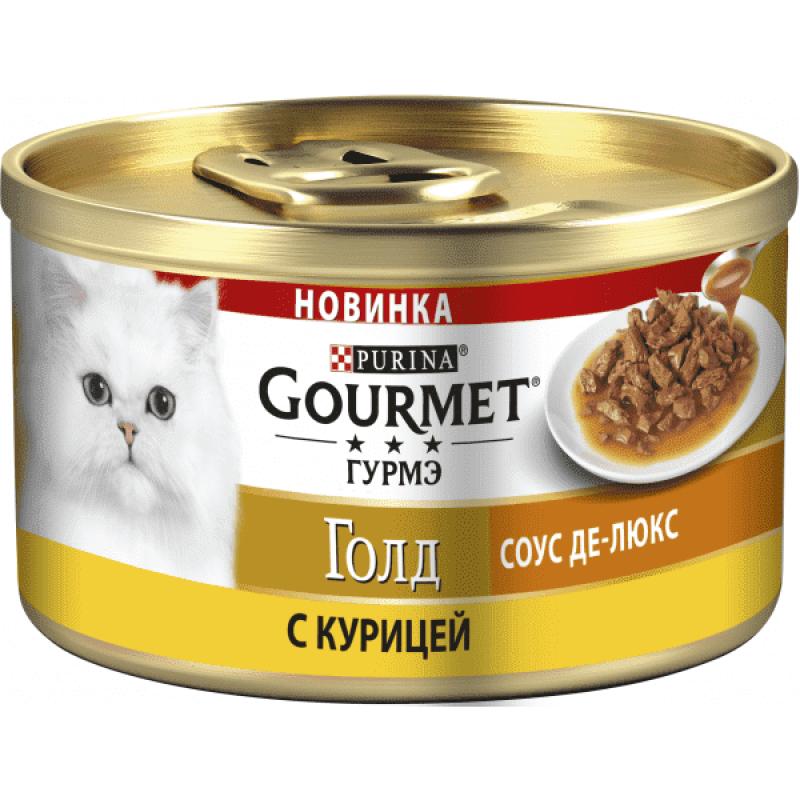 Gourmet Gold влажный корм для взрослых кошек всех пород, курица в соусе 85 гр