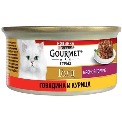 Gourmet Gold влажный корм для взрослых кошек всех пород, мясной тортик, говядина и курица 85 гр