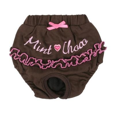 Pinkaholic (снят с производства) Трусы для собак с рюшами Мятный шоколад, коричневый, размер M (MINT CHOCO SANTIARY/BROWN/M) NAIB-PT104-BR-M, 0,1 кг, 13176.кор