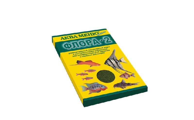 Аква меню Флора-2 корм для Средних и Крупных рыб Хлопья 30гр 155