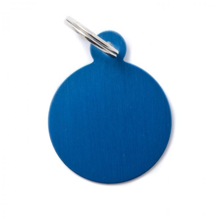 MY FAMILY Адресник BASIC Алюминиевый Большой Круглый синий