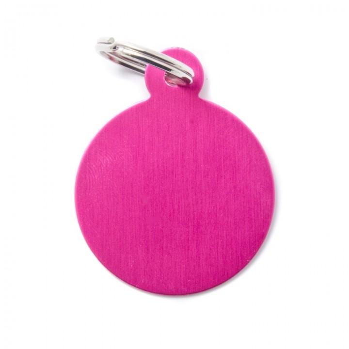 MY FAMILY Адресник BASIC Алюминиевый Большой Круглый розовый