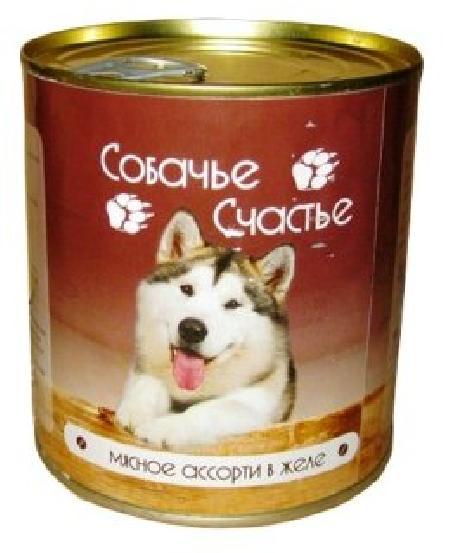 Собачье Счастье влажный корм для взрослых собак всех пород, мясное ассорти в желе 750 гр
