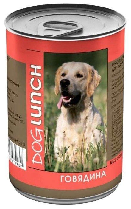 Dog Lunch влажный корм для взрослых собак, говядина в желе 750 гр