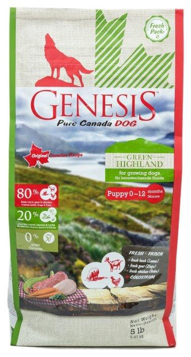 Genesis корм для щенков всех пород, курица, коза и ягненок 2,268 кг