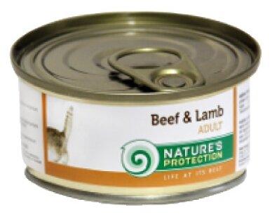 Nature's Protection влажный корм для взрослых кошек всех пород, говядина и ягненок 100 гр