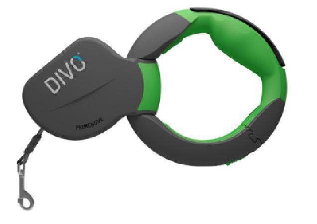 Divo  Рулетка-ремень DIVO с автоматической системой торможения и эргономичной расстегивающейся ручкой,  для собак до 50кг, 3,5м (зеленая) DV.1.L.GRN, 0,520 кг
