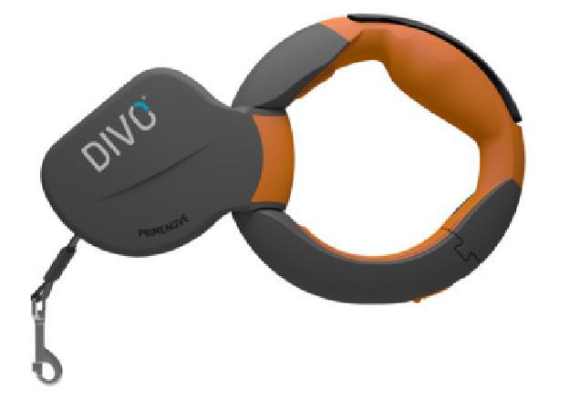 Divo  Рулетка-ремень DIVO с автоматической системой торможения и эргономичной расстегивающейся ручкой,  для собак до 50кг, 3,5м  (оранжевая) DV.1.L.ORG, 0,520 кг