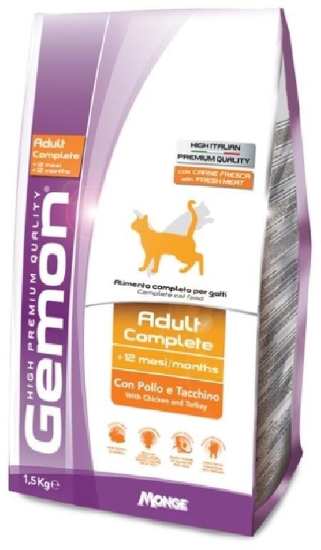 Gemon корм для взрослых кошек всех пород, идеальная кожа и шерсть, курица и индейка 1,5 кг