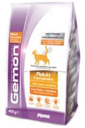Gemon корм для взрослых кошек всех пород, идеальная кожа и шерсть, курица и индейка 400 гр