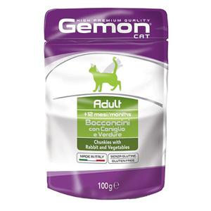 Gemon влажный корм для взрослых кошек всех пород, кусочки кролика с овощами 100 гр