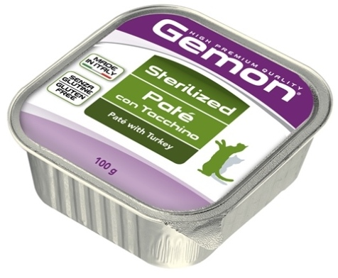 Gemon влажный корм для взрослых стерилизованных кошек всех пород, индейка 100 гр