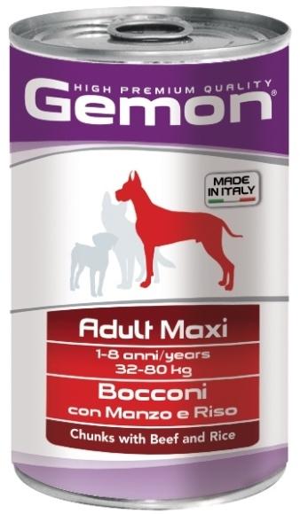 Gemon влажный корм для взрослых собак крупных пород, кусочки говядины с рисом 1,250 кг