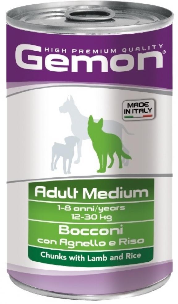 Gemon влажный корм для взрослых собак средних пород, кусочки ягненка с рисом 1,250 кг