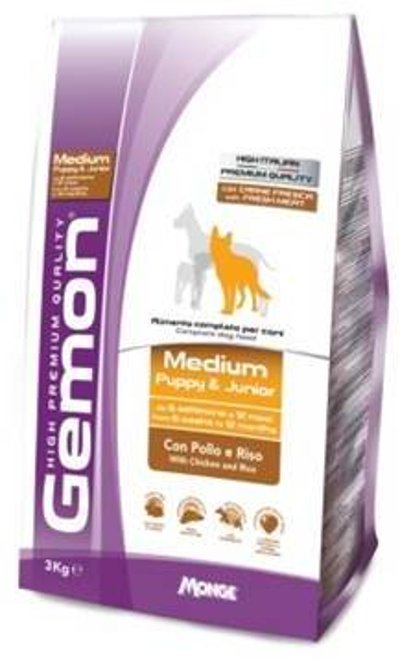 Gemon Dog Medium корм для щенков средних пород курица с рисом 3 кг