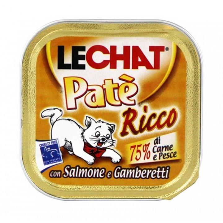 Lechat влажный корм для взрослых кошек всех пород, с лососем и креветкой 100 гр