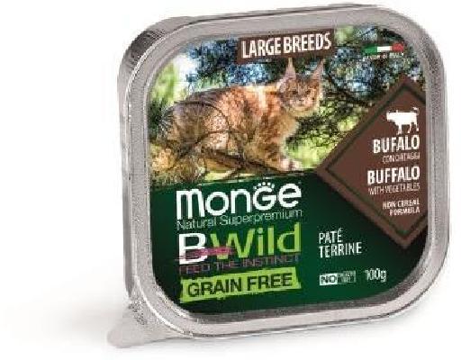 Monge Cat BWild GRAIN FREE беззерновые консервы из буйвола с овощами для кошек крупных пород 100г