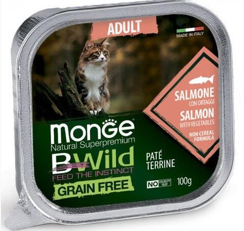 Monge Cat BWild GRAIN FREE беззерновые консервы из лосося с овощами для взрослых кошек 100г