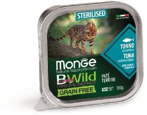 Monge Cat BWild Grain Free влажный корм для стерилизованных кошек, беззерновой, тунец и овощи 100 гр