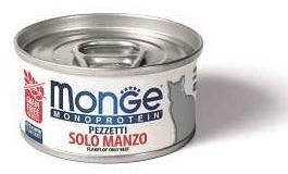 Monge Cat Monoprotein мясные хлопья для взрослых кошек всех пород, говядина 85 гр