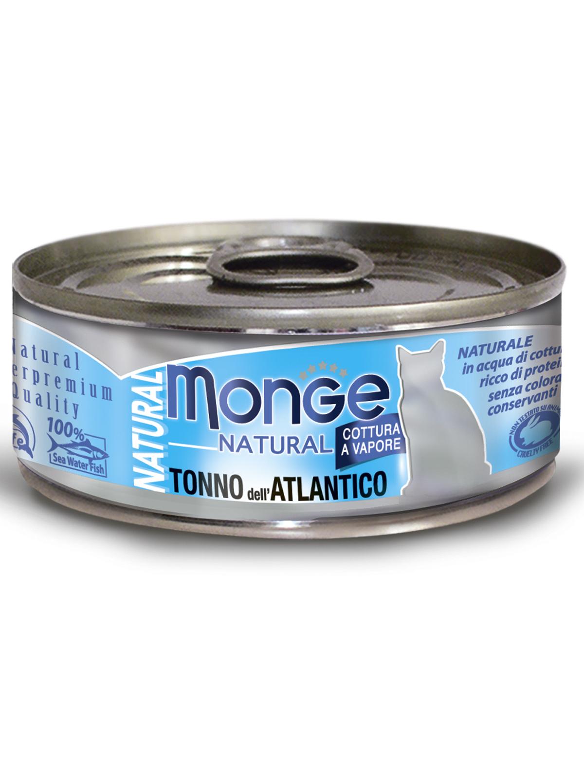 Monge Cat Natural влажный корм для кошек всех возрастов и пород, кусочки атлантического тунца 80 гр