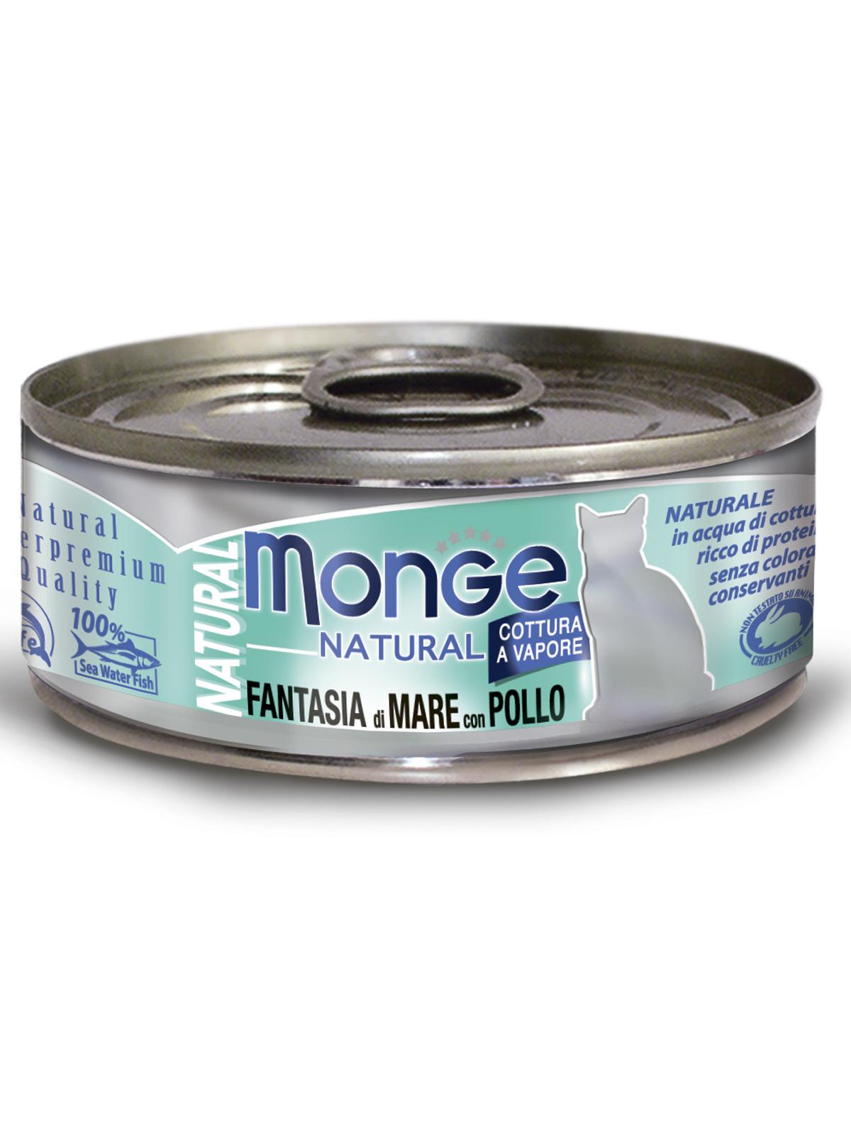 Monge Cat Natural влажный корм для кошек всех возрастов и пород, с кусочками морепродуктов с курицей 80 гр