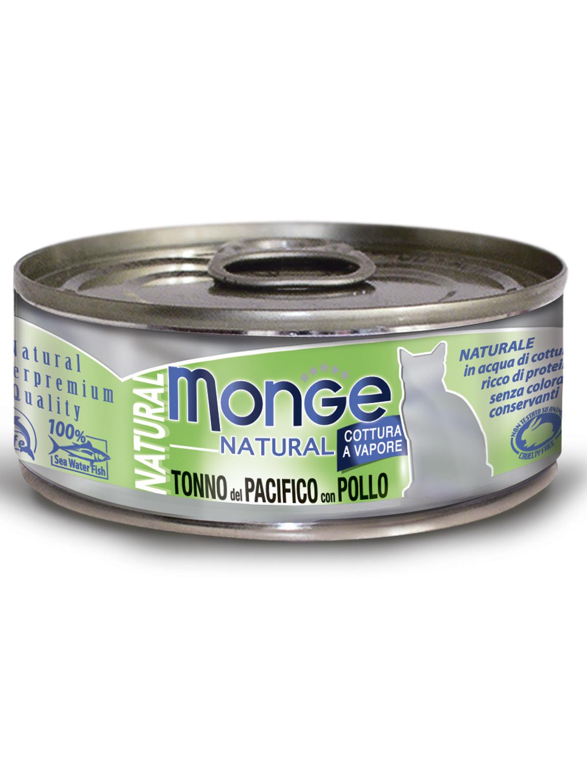Monge Cat Natural влажный корм для кошек всех возрастов и пород, тихоокеанский тунец с курицей 80 гр