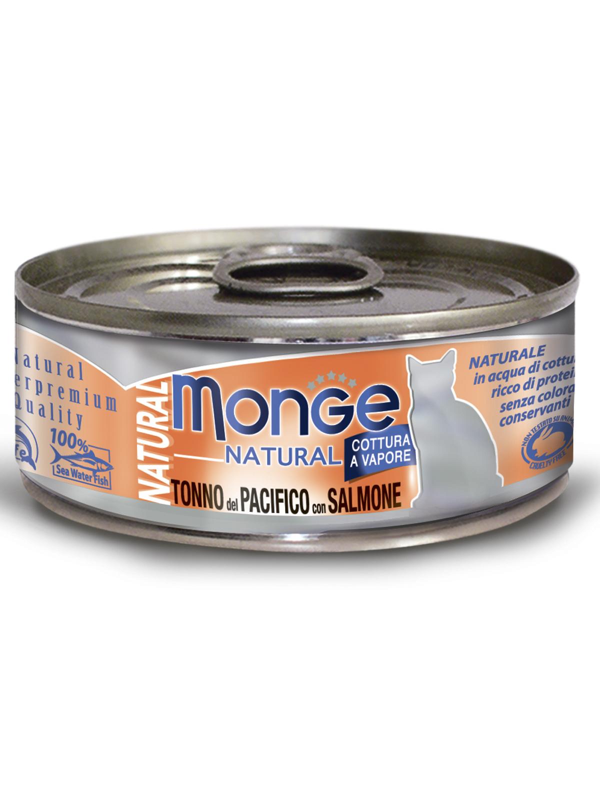 Monge Cat Natural влажный корм для кошек всех возрастов и пород, кусочки тунца с лососем 80 гр