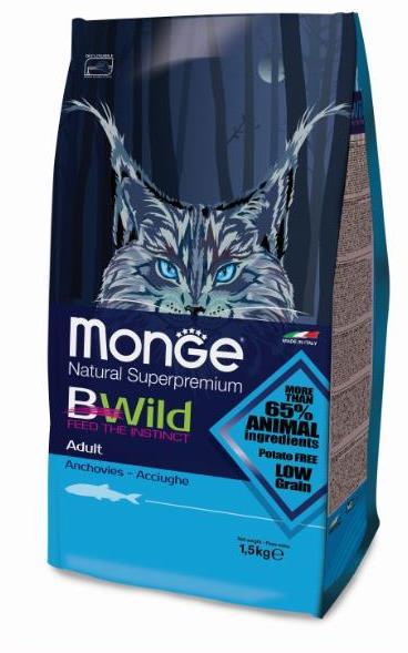 Monge Cat BWild Low Grain корм для взрослых кошек всех пород, с анчоусами 1,5 кг, 100100816