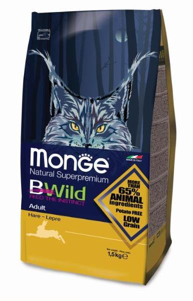 Monge Cat BWild Low Grain корм для взрослых кошек всех пород, низкозерновой, мясо зайца 1,5 кг