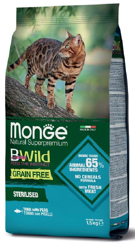 Monge Cat BWild GF корм для стерилизованных взрослых кошек всех пород, беззерновой, тунец и горох 1,5 кг