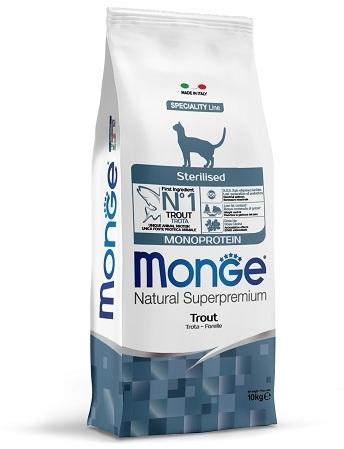 Monge Cat Monoprotein Sterilised корм для стерилизованных кошек всех пород, форель 10 кг