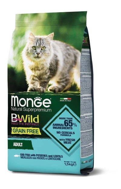 Monge Cat BWild GF корм для взрослых кошек всех пород, беззерновой, треска, картофель и чечевица 1,5 кг