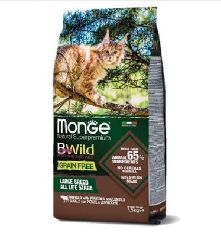 Monge Cat BWild Grain Free корм для взрослых кошек крупных пород, беззерновой, мясо буйвола 1,5 кг
