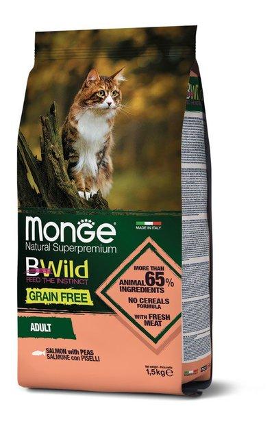 Monge Cat BWild Grain Free корм для взрослых кошек всех пород, беззерновой, лосось и горох 1,5 кг