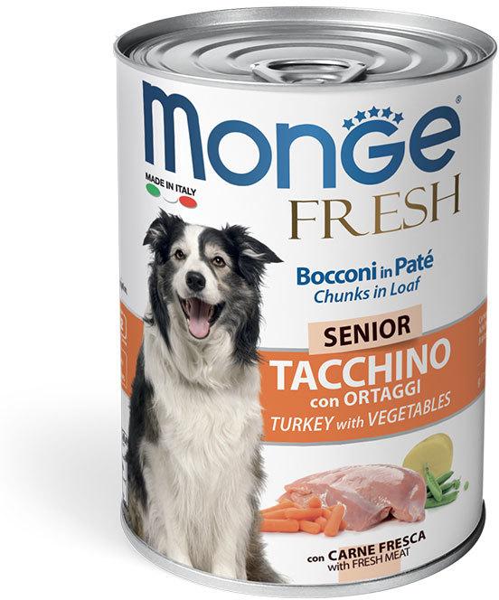 Monge Dog Fresh мясной рулет для пожилых собак всех пород, индейка и овощи 400 гр