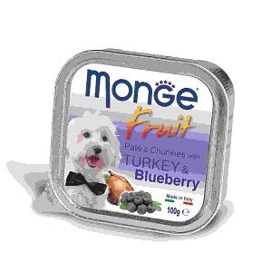Monge Dog Fruit влажный корм для собак всех пород и возрастов, индейка с черникой 100 гр