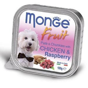 Monge Dog Fruit влажный корм для собак всех пород и возрастов, курица с малиной 100 гр