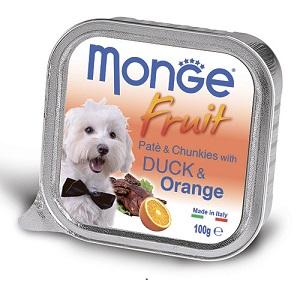 Monge Dog Fruit влажный корм для собак всех пород и возрастов, утка с апельсином 100 гр