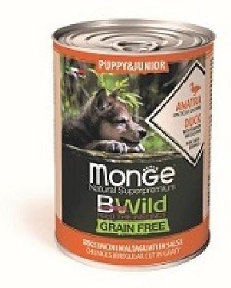 Monge Dog BWild Grain Free влажный корм для щенков, беззерновой, утка, тыква и кабачок 400 гр