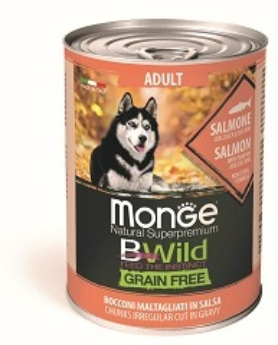Monge Dog BWild GF влажный корм для собак, беззерновой, кусочки в соусе, лосось, тыква и кабачок 400 гр