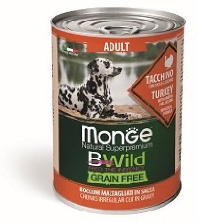Monge Dog BWild Grain Free влажный корм для собак, беззерновой, в соусе, индейка, тыква и кабачок 400 гр