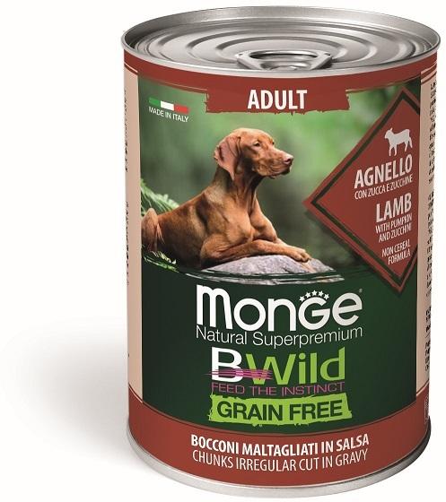 Monge Dog BWild Grain Free влажный корм для собак, беззерновой, в соусе, ягненок, тыква и кабачок 400 гр