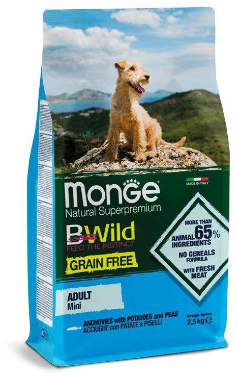 Monge Dog BWild GF корм для взрослых собак малых пород, беззерновой, анчоус, картофель и горох 2,5 кг