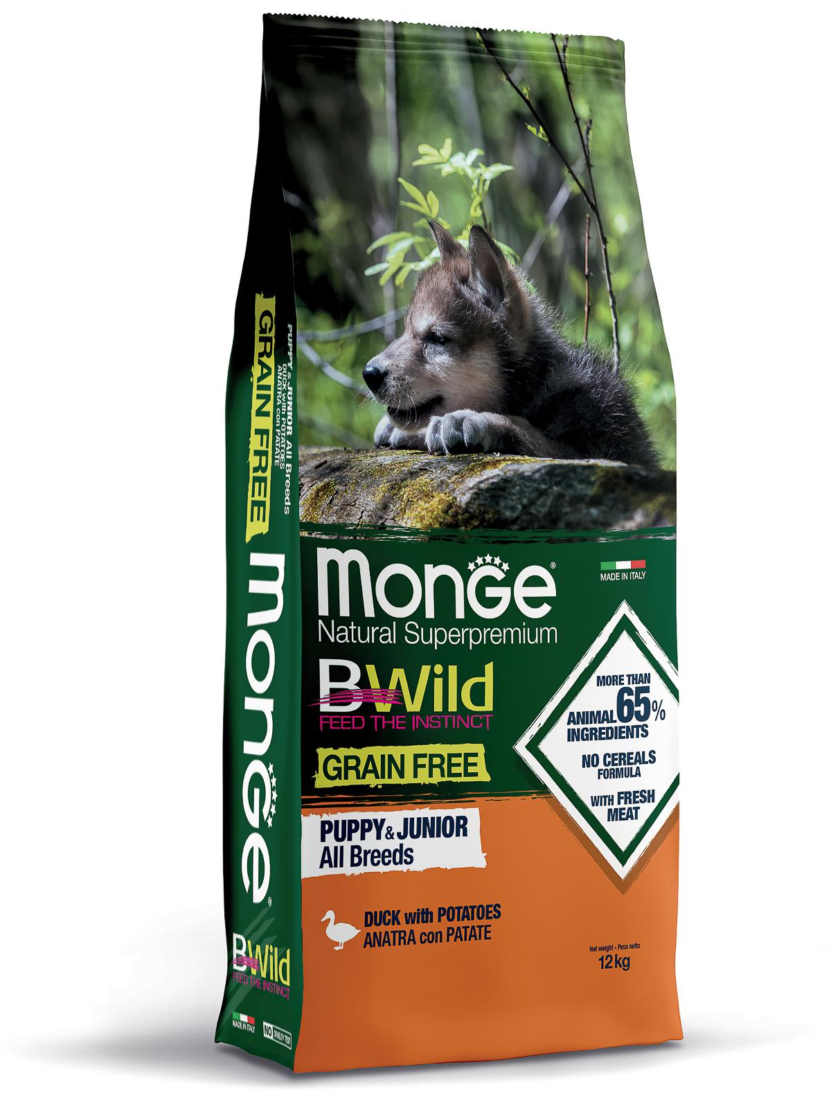 Monge Dog BWild Grain Free корм для щенков всех пород, беззерновой, утка с картофелем 12 кг
