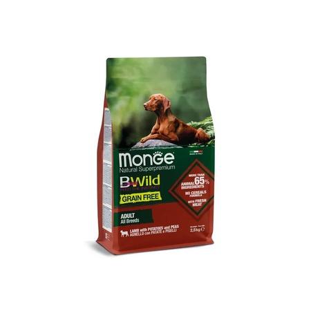 Monge Dog BWild Grain Free корм для взрослых собак, беззерновой, ягненок, картофель и горох 2,5 кг